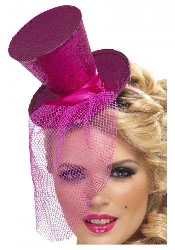 Fever Mini Top Hat on Headband, Hot Pink