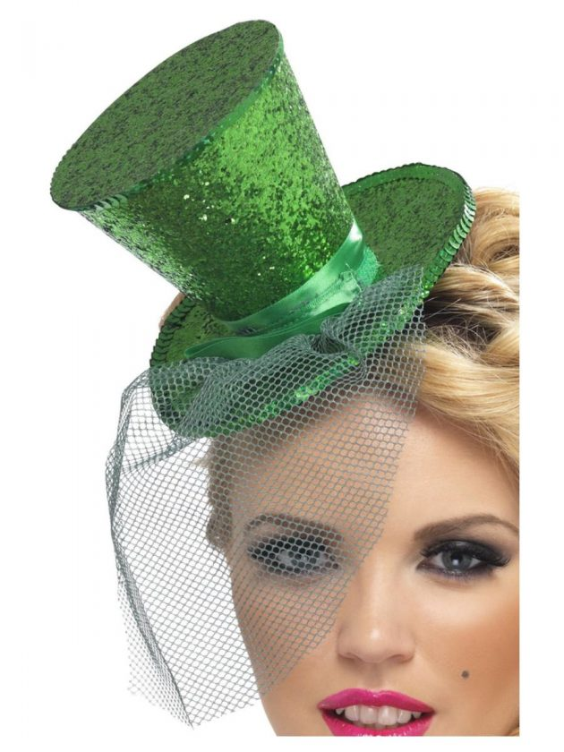 Fever Mini Top Hat Headband – Green Glitter