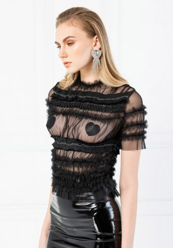 Kiki Riki Short Sleeve Ruffle Tulle Blouse - Black