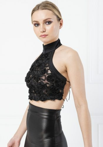 Kiki Riki Open Back High Neck Crop Blouse - Black