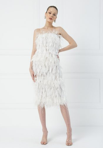 Kiki Riki Off The Shoulder Feathered Ruffle Chiffon Midi Dress - Off White