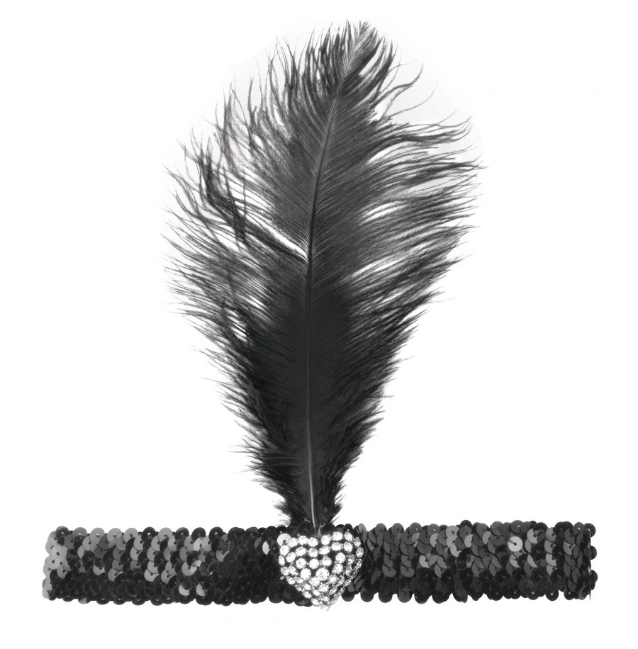 Sequin Flapper Headband with Feather & Crystal Heart Detail – Black/Silver