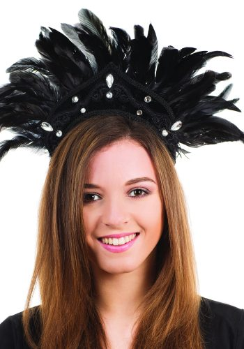 Carnival Feather Headdress - Black/Black