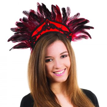 Carnival Feather Headdress – Black/Red