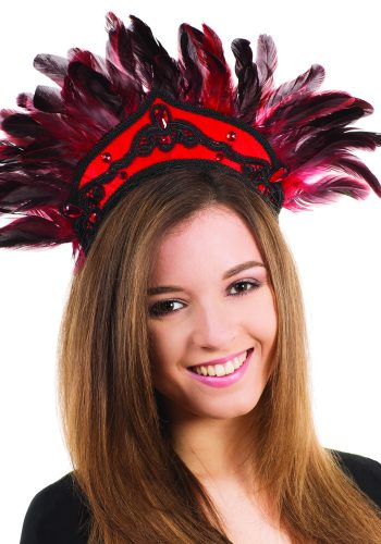 Carnival Feather Headdress - Black/Red