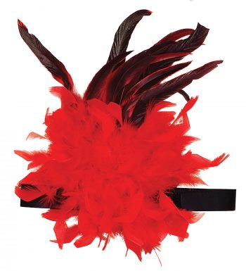 Charleston Headband with Feather Detail – Red/Black
