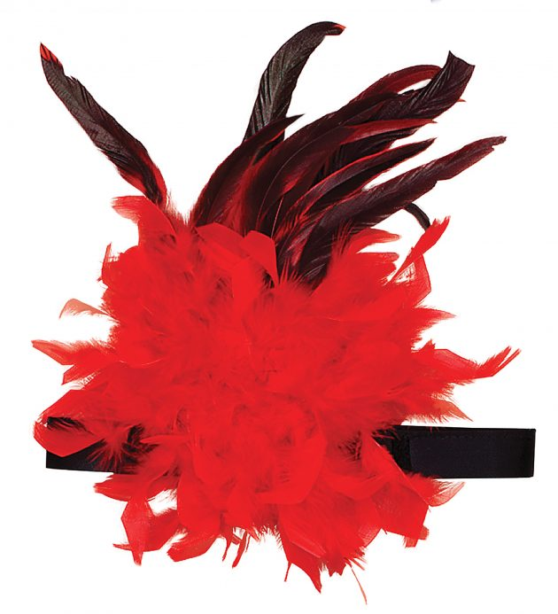 Charleston Headband with Feather Detail - Red/Black