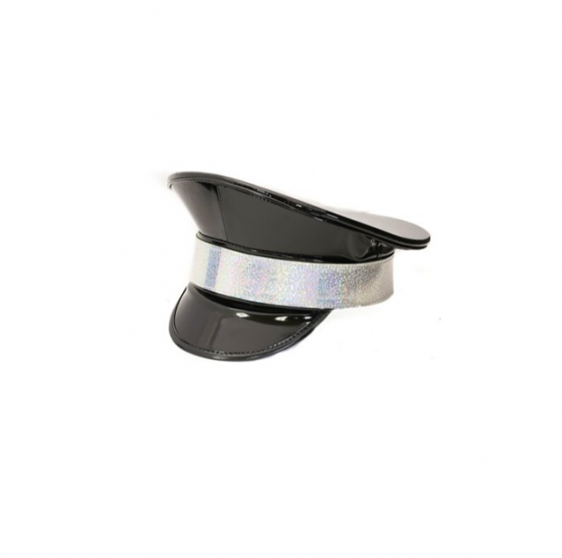 black festival police hat with holographic front band