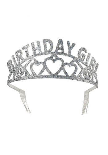 Birthday Girl Glitter Tiara - Silver