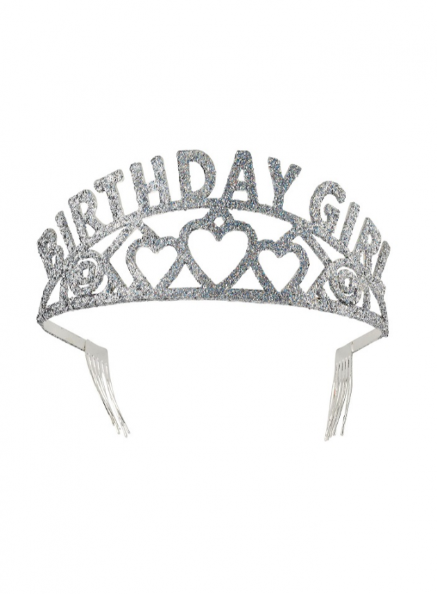 Birthday Girl Glitter Tiara – Silver