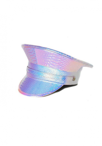Faux-snake print pink holographic festival police hat