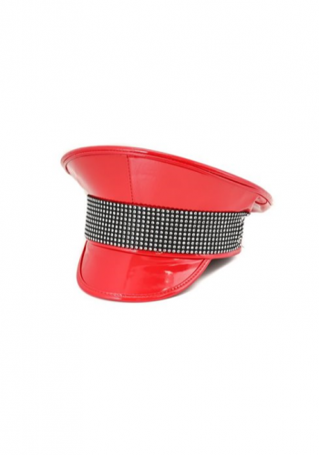 Red Diamante Police Hat