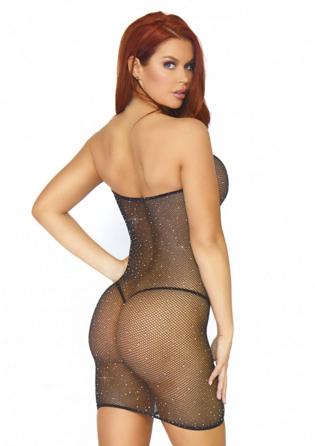 Leg Avenue Crystalized Fishnet convertible tube dress - black