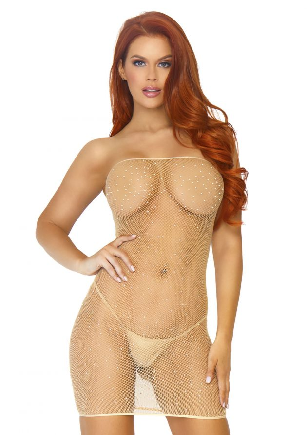 Leg Avenue crystalized fishnet convertible tube dress - tan
