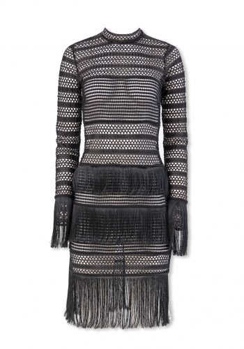 Kiki Riki Turtleneck Tasseled Fishnet Dress - Black