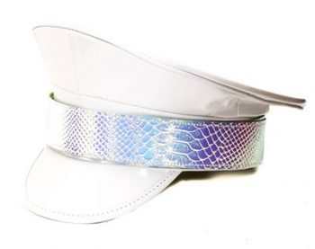 white festival police hat with faux-snake print holographic band