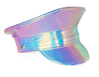 pink holographic festival police hat