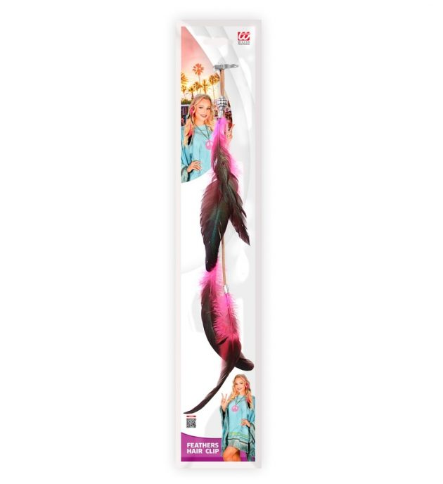 Hot Pink Feathers Hair Clip