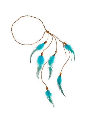 TURQUOISE INDIAN FEATHER HEADBAND