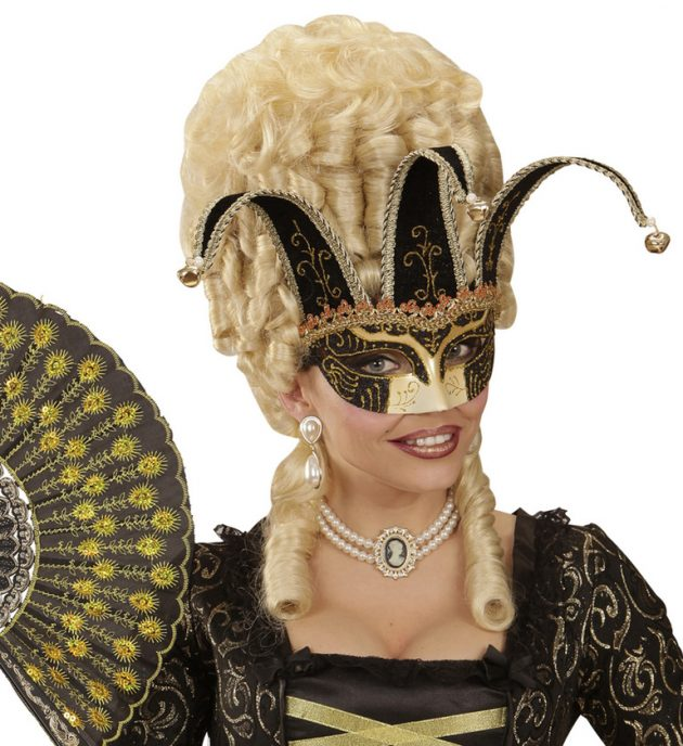 BLACK JOLLY MASK DECORATED W/ GLITTER AND BELLS