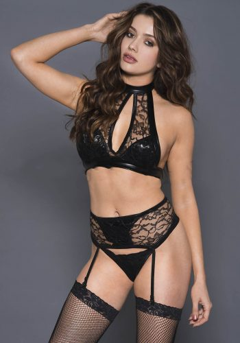 MUSIC LEGS - Keyhole halter neck top with wet look and lace high waist garter belt and matching panty