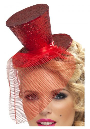 Fever Mini Top Hat Headband - Red Glitter