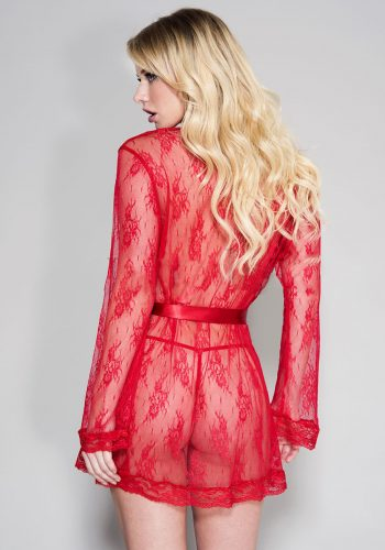 MUSIC LEGS - Sheer lace robe with butterfly sleeves and satin waist tie