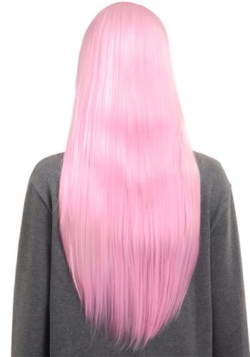 COLOUR PARTY STRAIGHT FULL HEAD WIG - Baby pink