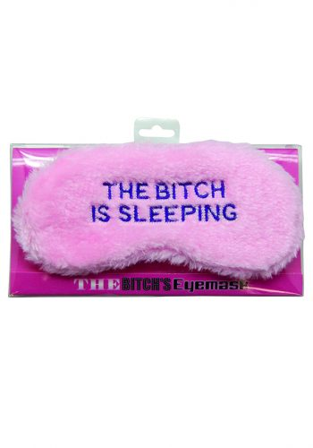 The Bitch is Sleeping Fluffy Eye Mask - Baby Pink & Blue