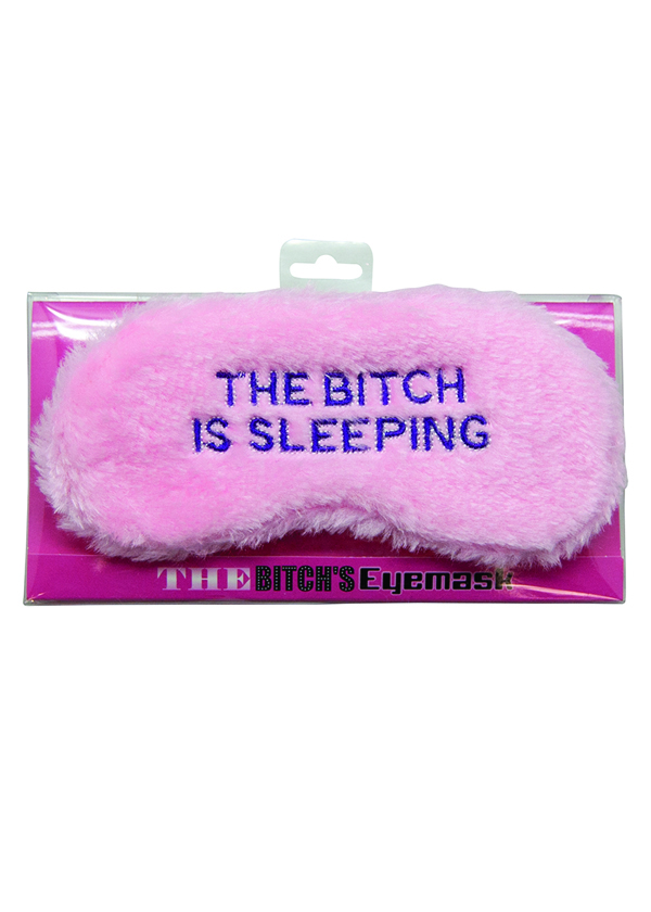 The Bitch is Sleeping Fluffy Eye Mask – Baby Pink & Blue