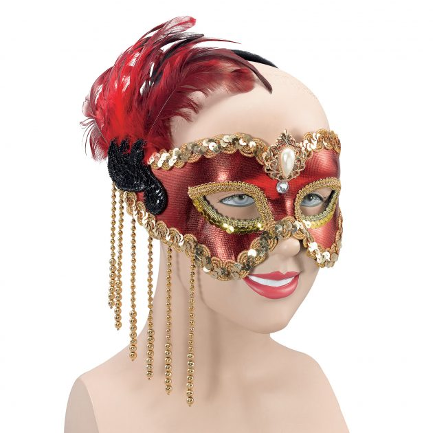Red Satin Mask with Feathers