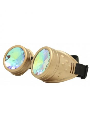 Renc Steampunk Goggles Sunglasses, Gold