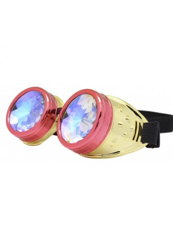 Renc Steampunk Goggles Sunglasses, Gold Red