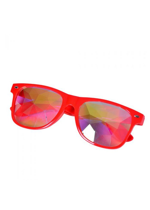 Red wayfarer style glasses with kaleidoscope prism lens