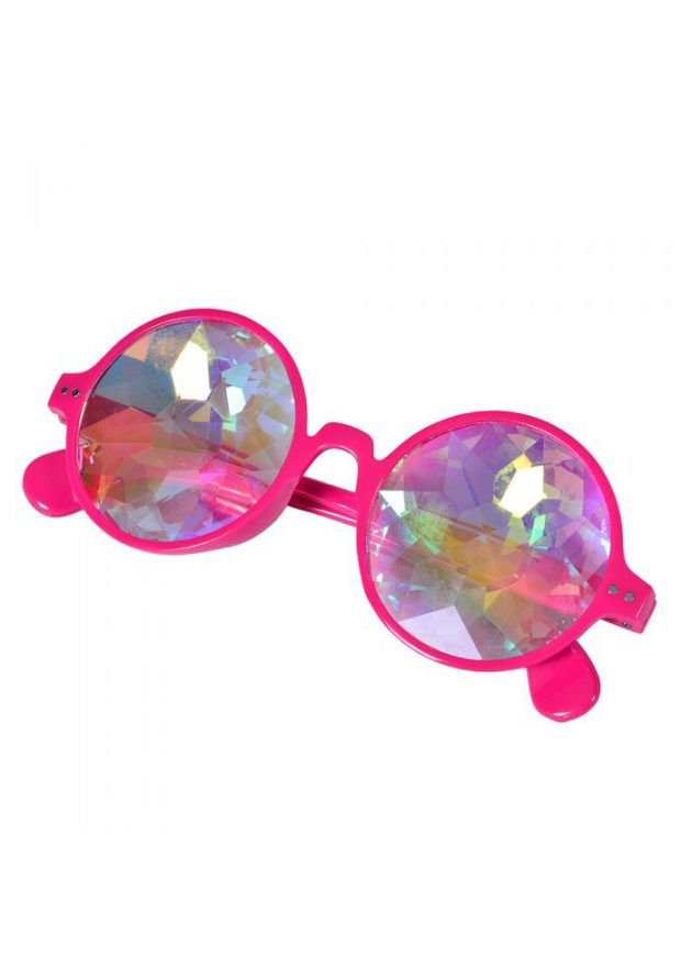 Neon pink round glasses with kaleidoscope prism lens