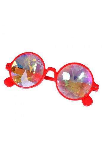 Round Kaleidoscope Glasses In Red