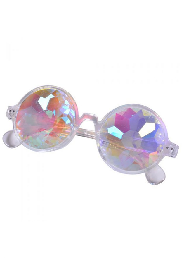 Round kaleidoscope prism glasses with clear frame