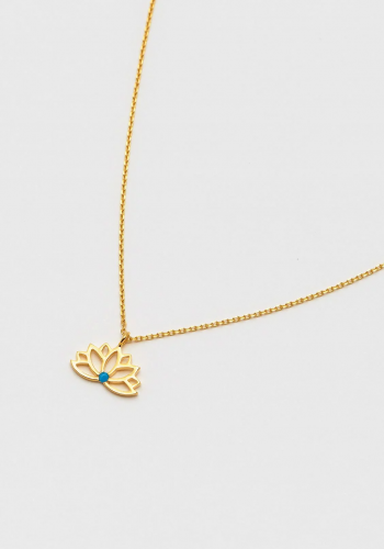 Estella Bartlett - Lotus Necklace With Turquoise Stone