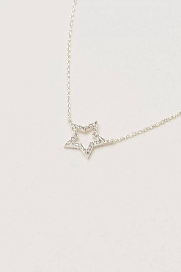 Estella Bartlett CZ Open Star Necklace – Silver