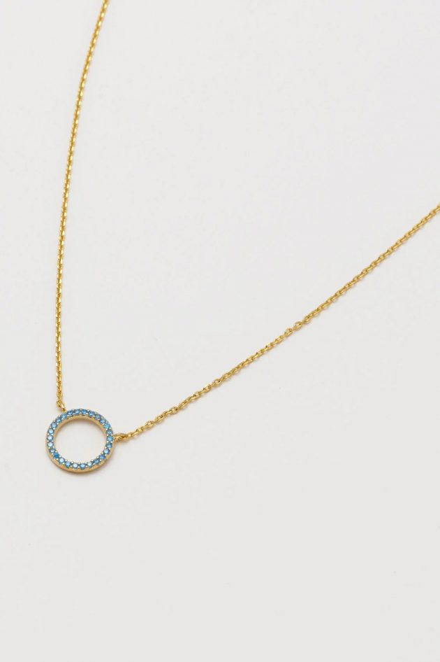 Estella Bartlett – Blue CZ Circle Necklace – Gold