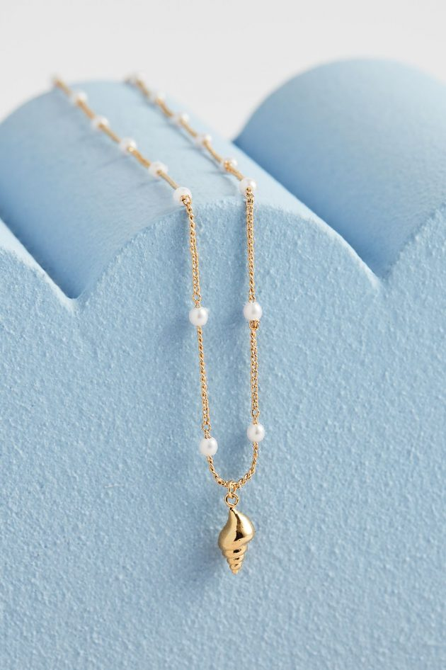 Estella Bartlett - Shell and Pearl Chain Necklace - Gold