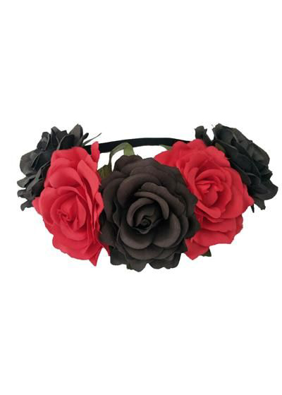 Red and Black Large Flower Garland