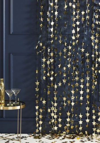 GOLD FOIL STAR BACKDROP CURTAIN DECORATION - POP THE BUBBLY