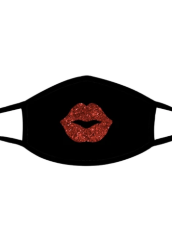 Pucker Up Red Glitter Kiss Face Mask