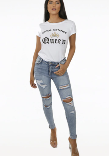 Social Distance Queen T'shirt - White