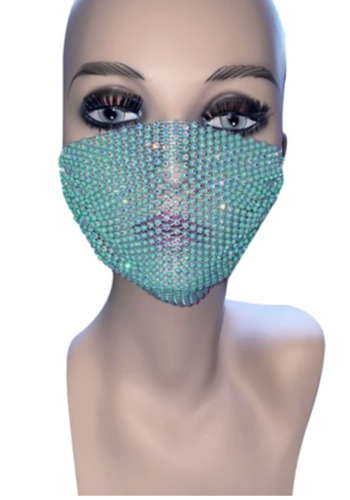 Perfect Illuzion Teal Mesh Jewel Face Mask