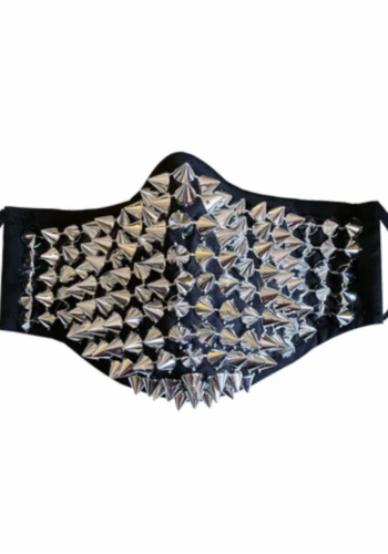 Greed Silver Chrome Stud Face Mask