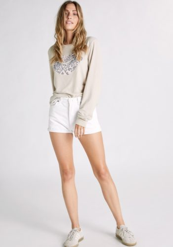 Wildfox Leopard Kiss Baggy Beach Jumper - Sand