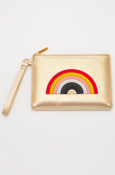 Estella Bartlett Rainbow Applique Medium Pouch – Gold