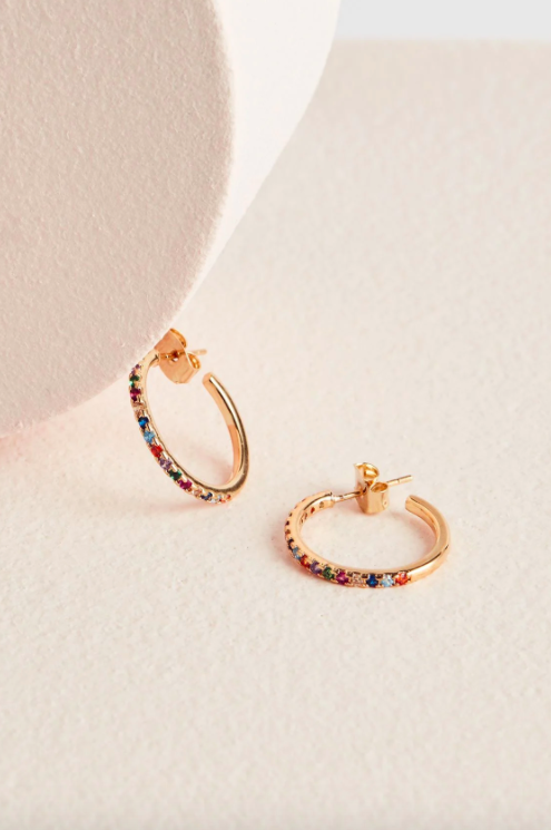 Estella Bartlett Pave Set Hoop Rainbow Earrings – Gold Plated
